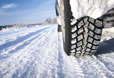 tyre on an icy snowy road