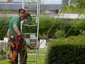 Arboriculture apprentice about to get to work in a cemetery in Rotherham